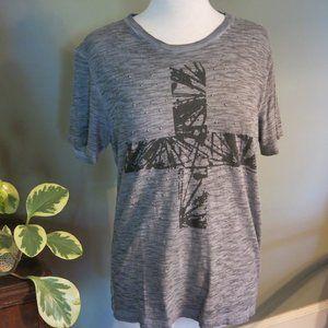 EXPRESS Mens T-Shirt Gray Silver Studs Size M
